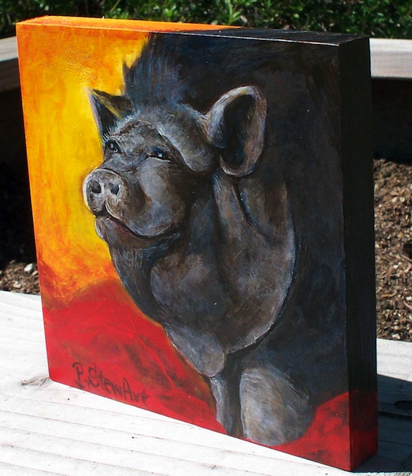 The edge canvas, Painting of Raspy, a pot bellied pig