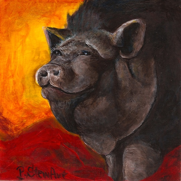 Pot Bellied Pig Painting